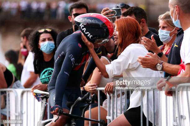 Egan Arley Bernal Gomez of Colombia and Team INEOS Grenadiers and his girlfriend Maria Fernanda Gutiérrez after the 76th Tour of Spain 2021, Stage 21...