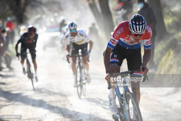 Egan Arley Bernal Gomez of Colombia and Team INEOS Grenadiers, Julian Alaphilippe of France and Team Deceuninck - Quick-Step & Mathieu Van Der Poel...