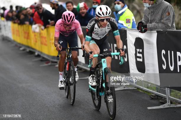 Egan Arley Bernal Gomez of Colombia and Team INEOS Grenadiers Pink Leader Jersey & Simon Yates of United Kingdom and Team BikeExchange at Monte...