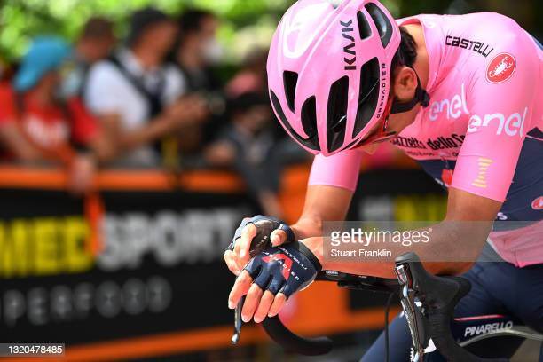 Egan Arley Bernal Gomez of Colombia and Team INEOS Grenadiers Pink Leader Jersey at start during the 104th Giro d'Italia 2021, Stage 19 a 166km stage...