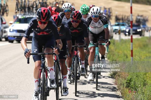 Egan Arley Bernal Gomez of Colombia and Team INEOS Grenadiers & Robert Stannard of Australia and Team BikeExchange during the 43rd Vuelta a Burgos...