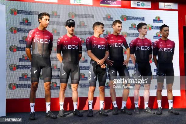 Egan Arley Bernal Gomez of Colombia and Team INEOS / Jonathan Castroviejo Nicolas of Spain and Team INEOS / Eddie Dunbar of Ireland and Team INEOS /...