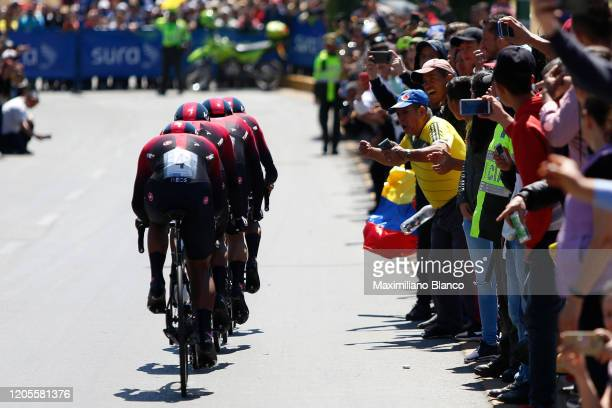 Egan Arley Bernal Gomez of Colombia and Team INEOS / Richard Carapaz of Ecuador and Team INEOS / Sebastian Henao Gomez of Colombia and Team INEOS /...