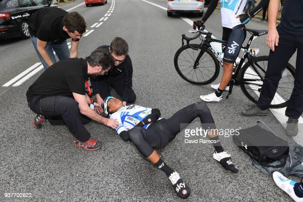 Egan Arley Bernal Gomez of Colombia and Team Sky Blue Young Jersey / Crash / Doctor / during the 98th Volta Ciclista a Catalunya 2018 Stage 7 a...