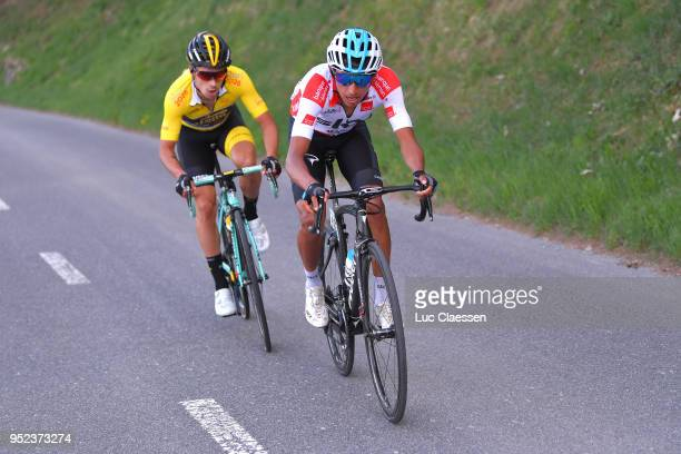 Egan Arley Bernal Gomez of Colombia and Team Sky White Best Young Rider Jersey / Primoz Roglic of Slovenia and Team LottoNLJumbo Yellow Leader Jersey...