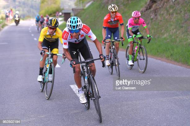 Egan Arley Bernal Gomez of Colombia and Team Sky White Young Jersey Primoz Roglic of Slovenia and Team LottoNLJumbo / Yellow leaders jersey / during...