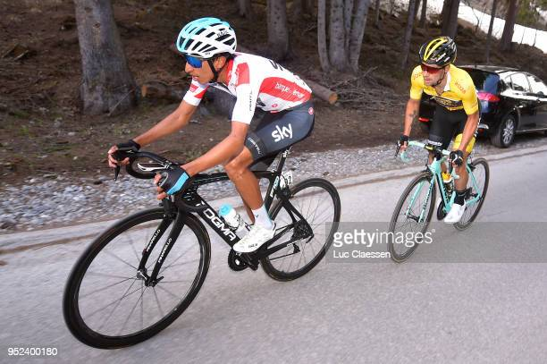 Egan Arley Bernal Gomez of Colombia and Team Sky / White young rider jersey / Primoz Roglic of Slovenia and Team LottoNLJumbo / Yellow leaders jersey...