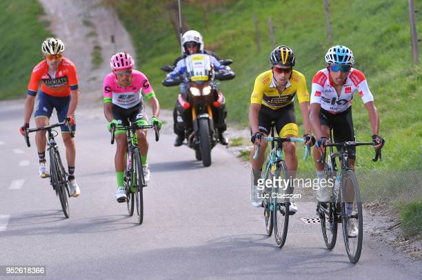 Egan Arley Bernal Gomez of Colombia and Team Sky White young rider jersey / Primoz Roglic of Slovenia and Team LottoNLJumbo Yellow leaders jersey /...