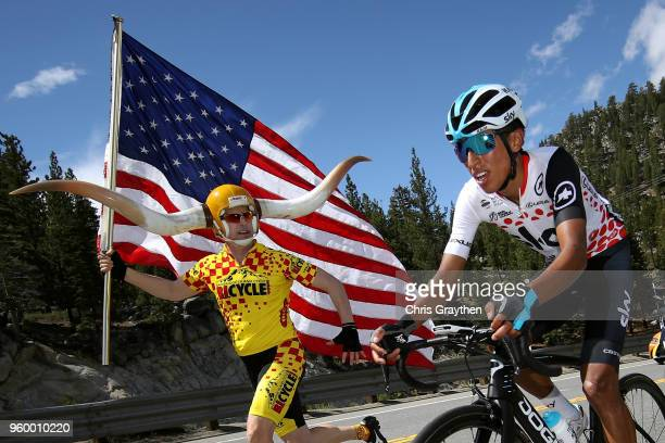 Egan Arley Bernal Gomez of Colombia in the Polka Dot Lexus King of the Mountain jersey Fans / Public / rides during stage six of the 13th Amgen Tour...