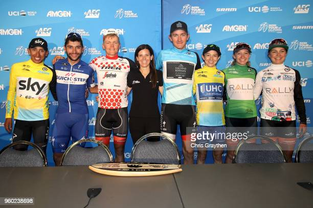Egan Arley Bernal Gomez of Colombia riding for Team Sky Fernando Gaviria of Colombia riding for Team QuickStep Floors Toms Skujins of Latvia riding...