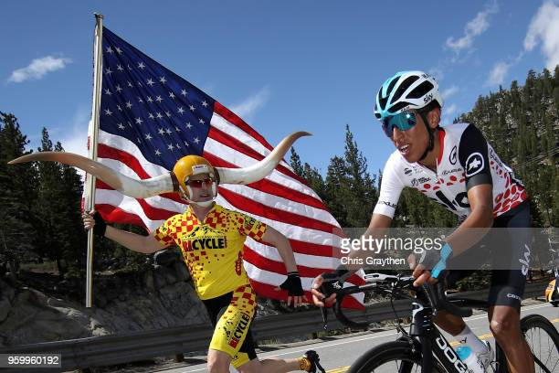 Egan Arley Bernal Gomez of Colombia riding for Team Sky in the Lexus King of the Mountain jersey rides during stage six of the 13th Amgen Tour of...