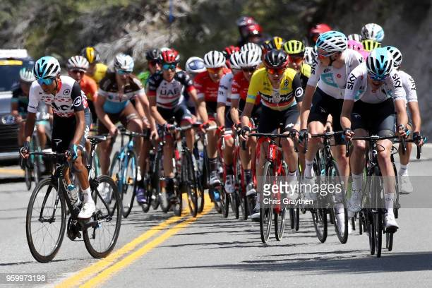 Egan Arley Bernal Gomez of Colombia riding for Team Sky in the Lexus King of the Mountain jersey and Tejay van Garderen of the United States riding...