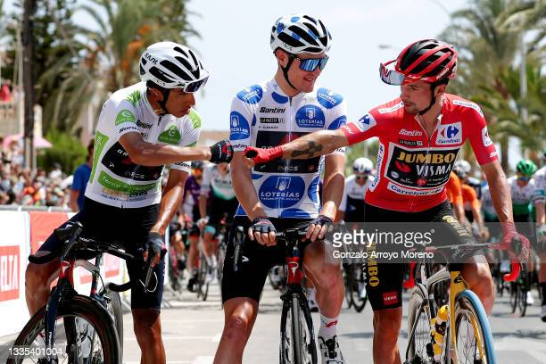 Egan Arley Bernal Gomez of Colombia white best young jersey, Pavel Sivakov of Russia and Team INEOS Grenadiers polka dot mountain jersey and Primoz...