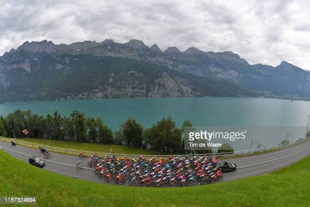 Egan Arley Bernal of Colombia and Team INEOS Yellow Leader Jersey / Tiesj Benoot of Belgium and Team Lotto Soudal White Best Young Rider Jersey /...