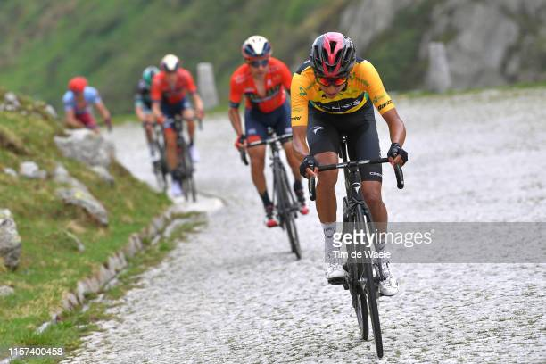 Egan Arley Bernal of Colombia and Team INEOS Yellow Leader Jersey / Domenico Pozzovivo of Italy and Team Bahrain Merida / San Gottardo / Cobblestones...