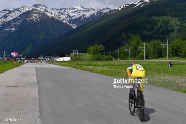 Egan Arley Bernal of Colombia and Team INEOS Yellow Leader Jersey / Mountains / Snow / during the 83rd Tour of Switzerland, Stage 8 a 19,2km...