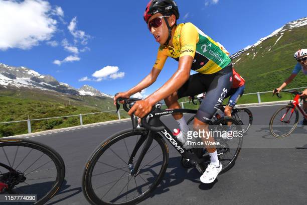Egan Arley Bernal of Colombia and Team INEOS Yellow Leader Jersey / during the 83rd Tour of Switzerland, Stage 9 a 101,5km stage from Ulrichen to...
