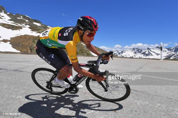 Egan Arley Bernal of Colombia and Team INEOS Yellow Leader Jersey / Mountains / Snow / during the 83rd Tour of Switzerland, Stage 9 a 101,5km stage...