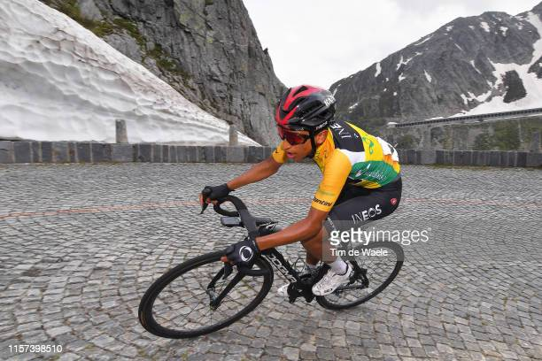 Egan Arley Bernal of Colombia and Team INEOS Yellow Leader Jersey / San Gottardo / Cobblestones / Snow / Mountains / during the 83rd Tour of...