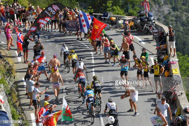 Egan Arley Bernal of Colombia and Team Sky / Geraint Thomas of Great Britain and Team Sky Yellow Leader Jersey / Vincenzo Nibali of Italy and Bahrain...