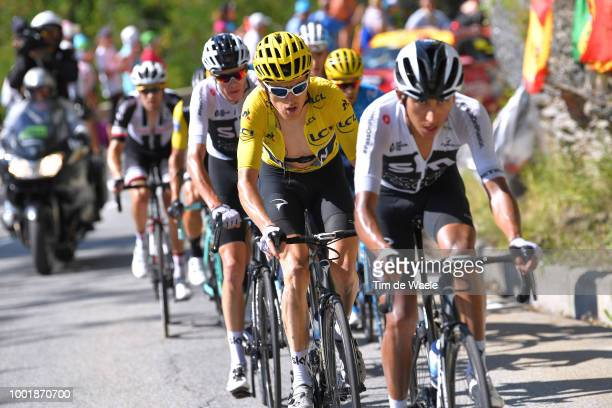 Egan Arley Bernal of Colombia and Team Sky / Geraint Thomas of Great Britain and Team Sky Yellow Leader Jersey / Christopher Froome of Great Britain...