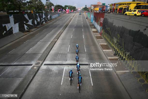 Egan Arley Bernal of Colombia and Team Sky / Jonathan Castroviejo of Spain and Team Sky / Chris Froome of Great Britain and Team Sky / Sebastián...