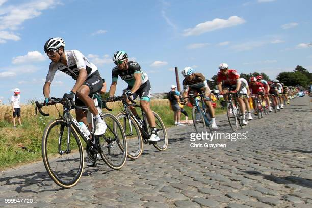 Egan Arley Bernal of Colombia and Team Sky / Willems À Hem Cobbles Sector 1 / Pave / Fans / Public / during the 105th Tour de France 2018 Stage 9 a...