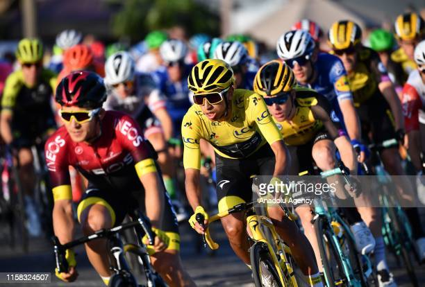 Egan Bernal 2nd left of Colombia competes on the ChampsElysees avenue during the Paris ChampsElysees stage of the Tour de France 2019 in Paris France...