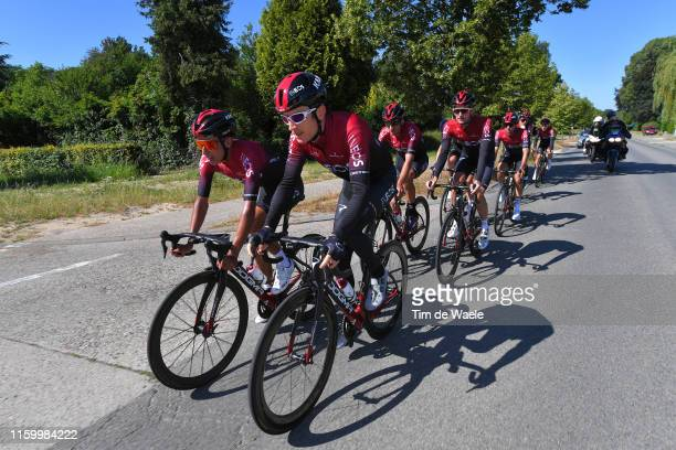 Egan Bernal of Colombia and Team INEOS / Geraint Thomas of United Kingdom and Team INEOS / Gianni Moscon of Italy and Team INEOS / Wout Poels of The...