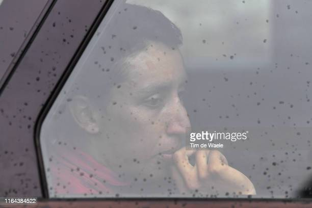 Egan Bernal of Colombia and Team INEOS White Best Young Rider Jersey / Hidden at Car due to bad weather / Rain / Stage neutralized - canceled due to...