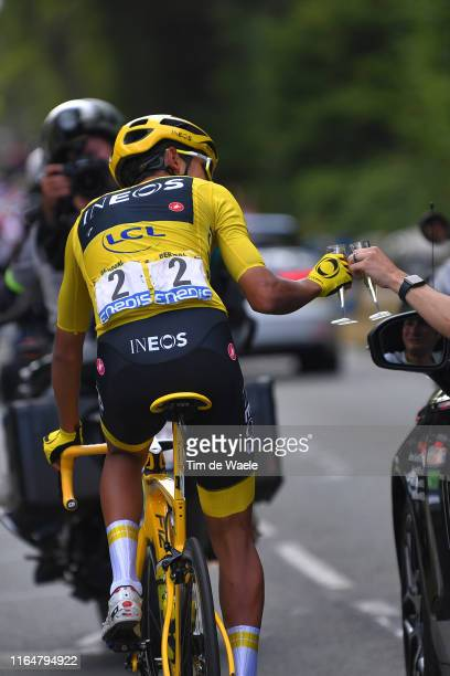 Egan Bernal of Colombia and Team INEOS Yellow Leader Jersey / Celebration / Champagne / Car / during the 106th Tour de France 2019 Stage 21 a 128km...