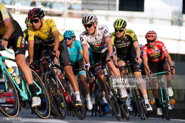 Egan Bernal of Colombia and Team INEOS Yellow Leader Jersey / Daryl Impey of South Africa and Team Mitchelton-Scott / Luke Durbridge of Australia and...