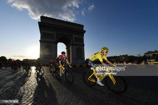 Egan Bernal of Colombia and Team INEOS Yellow Leader Jersey / Dylan van Baarle of The Netherlands and Team INEOS / Arc De Triomphe / during the 106th...