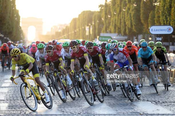 Egan Bernal of Colombia and Team INEOS Yellow Leader Jersey / Edvald Boasson Hagen of Norway and Team Dimension Data / Jonathan Castroviejo of Spain...