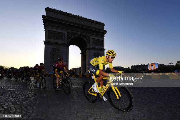 Egan Bernal of Colombia and Team INEOS Yellow Leader Jersey / Geraint Thomas of United Kingdom and Team INEOS / Arc De Triomphe / Landscape / Peloton...
