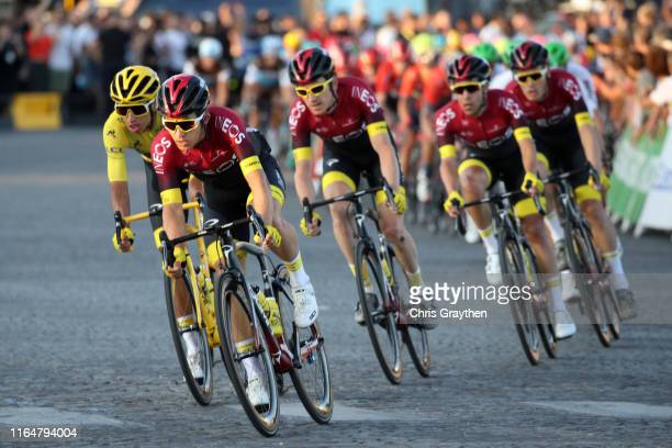Egan Bernal of Colombia and Team INEOS Yellow Leader Jersey / Michal Kwiatkowski of Poland and Team INEOS / Geraint Thomas of United Kingdom and Team...