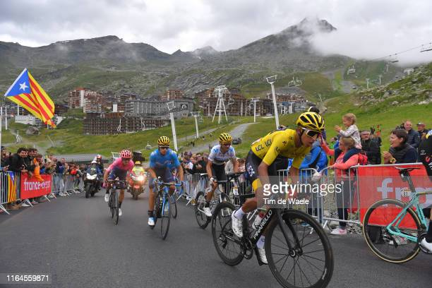 Egan Bernal of Colombia and Team INEOS Yellow Leader Jersey / Mikel Landa of Spain and Movistar Team / Alejandro Valverde of Spain and Movistar Team...