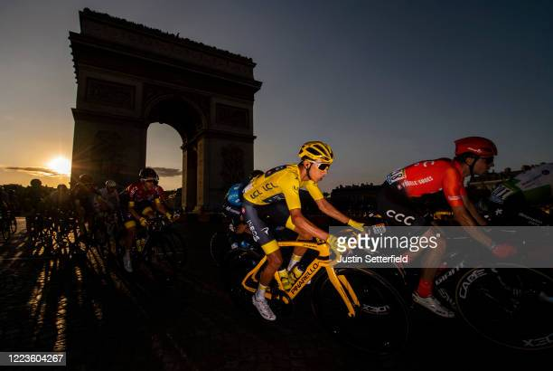 Egan Bernal of Colombia and Team INEOS, Yellow Leader Jersey, passes the Arc De Triomphe on his way to winning the 106th Tour de France 2019, during...