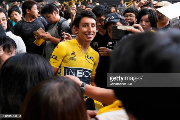 Egan Bernal of Colombia and Team INEOS Yellow Leader Jersey / Public / Fans / Selfie / during the 7th Tour de France Saitama Criterium 2019, Team...