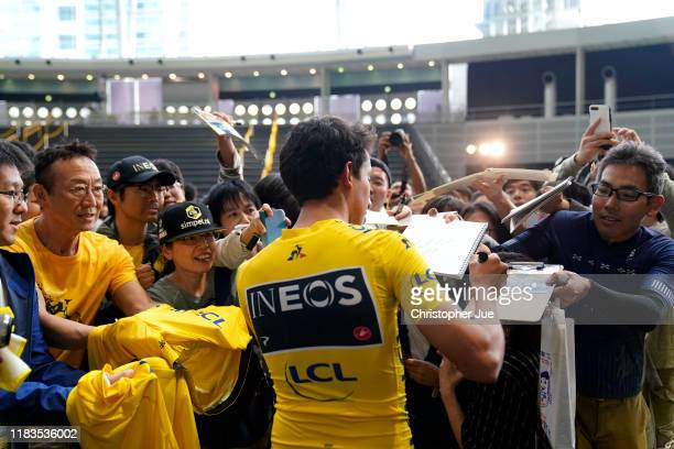 Egan Bernal of Colombia and Team INEOS Yellow Leader Jersey / Public / Fans / Sing In / during the 7th Tour de France Saitama Criterium 2019, Team...