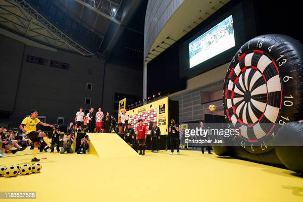 Egan Bernal of Colombia and Team INEOS Yellow Leader Jersey / Public / Fans / during the 7th Tour de France Saitama Criterium 2019, Foot darts /...
