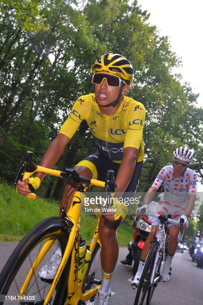 Egan Bernal of Colombia and Team INEOS Yellow Leader Jersey / Romain Bardet of France and Team AG2R La Mondiale Polka Dot Mountain Jersey / during...