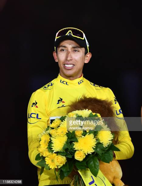 Egan Bernal of Colombia celebrates after winning the 106th edition of the Tour de France, during the trophy ceremony on the Champs-Elysees Avenue in...
