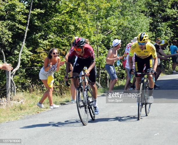 Egan Bernal of Team Ineos and Primoz Roglic of Jumbo - Visma. During the Tour de l'Ain - stage 3 from Saint Vulbas to Grand Colombier on August 9,...