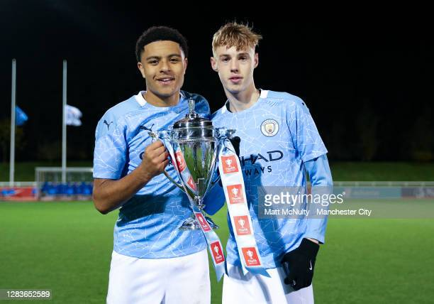 Egan-Riley and Cole Palmer of Manchester City celebrate during the FA Youth Cup Final match between Manchester City and Chelsea at St Georges Park on...