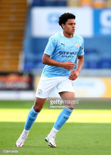 Egan-Riley of Manchester City during the EFL Trophy match between Mansfield Town and Manchester City U21 at One Call Stadium on September 8, 2020 in...