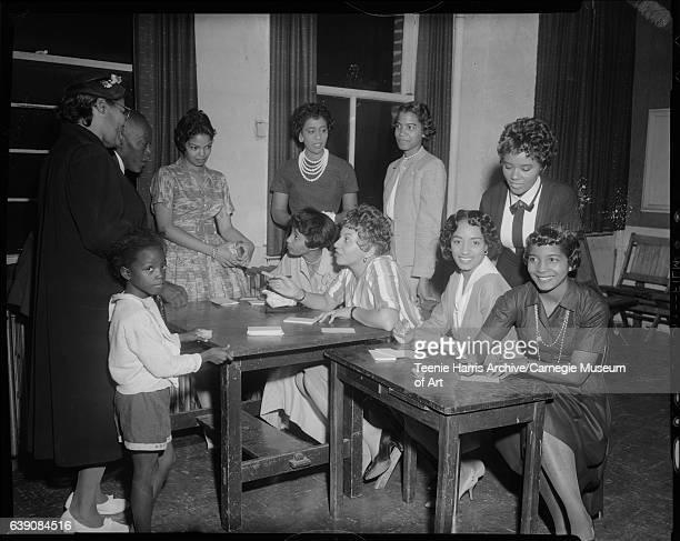 L'Egants Club members seated from left Carrie Washington Jean Bolden Vivian Swain Barbara Sowell standing Nancy Sanford Ann Perkins LeeBrun Johnson...