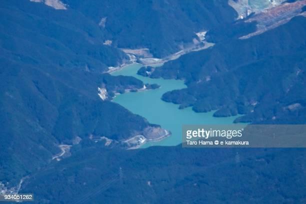 Egawa Dam in Asakura city in Fukuoka prefecture in Japan daytime aerial view from airplane