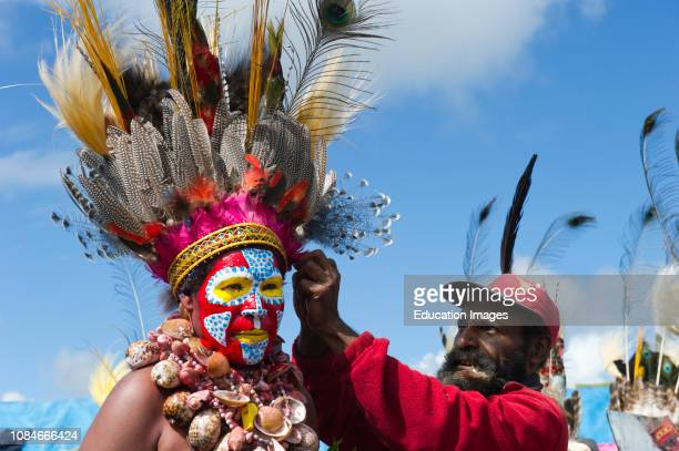 Egawag Cultural group from Tambul District in Western Highlands getting ready for the Mt Hagen Show a Singsing Papua New Guinea