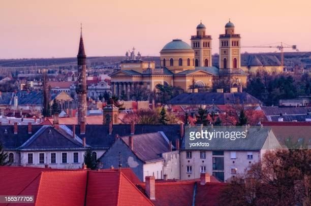 Eger Old Town view in night